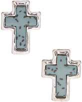 Carole Blue & Stainless Steel Inlayed Cross Stud Earrings