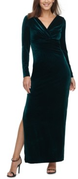 Eliza J Velvet V-Neck Gown