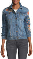 Driftwood Geena Floral-Embroidered Jean Jacket