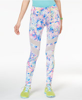 Material Girl Active Juniors' Printed Mesh-Trim Yoga Leggings, Only at Macy's