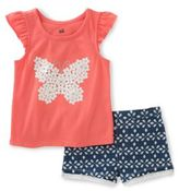 Kids Headquarters Little Girl's Two-Piece Butterfly Print Tee and Shorts Set