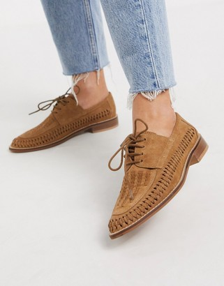 Asos DESIGN Mosely suede woven lace up shoes in tan