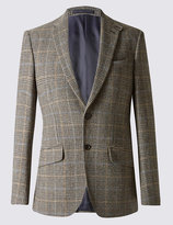 Marks And Spencer Pure Wool Grey Checked Jacket With Buttonsafetm