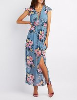 Charlotte Russe Floral Lace-Up Open Back Maxi Dress