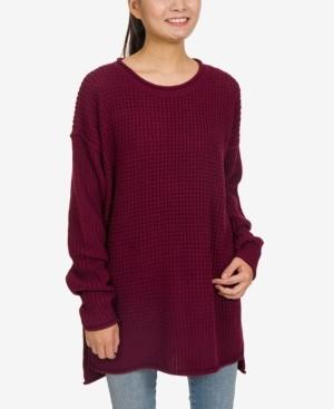 Hippie Rose Juniors' Thermal-Stitch Tunic Sweater