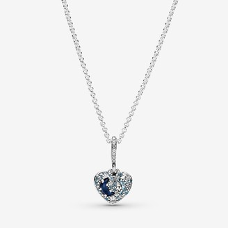 Pandora Sparkling Blue Moon & Stars Heart Necklace