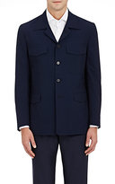Isaia MEN'S WOOL-SILK SEERSUCKER SAFARI JACKET-NAVY SIZE L