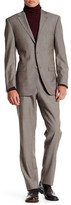 Ike Behar Tan Sharkskin Two Button Notch Lapel Wool Suit