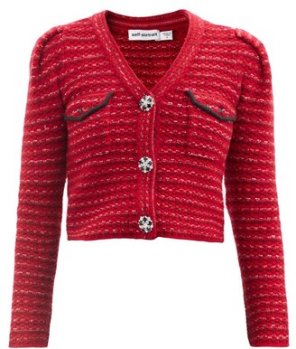 Self-Portrait Crystal-button Wool-blend Cropped Cardigan - Red
