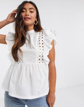 Influence ruffle sleeve cotton poplin blouse in white