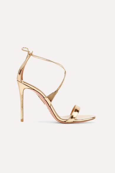 Aquazzura Linda 105 Metallic Leather Sandals - Gold