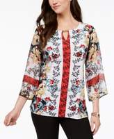 JM Collection Pleated-Sleeve Mixed-Print Tunic, Created for Macy's
