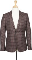 Boga Charcoal Grey & Plum Wine Check Notch Lapel Modern Fit Wool Blazer