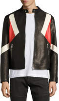 Neil Barrett Modernist Colorblock Leather Biker Jacket, Black