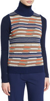 Diane von Furstenberg Carsyn Striped Sweater Vest, Midnight/Orange/Khaki