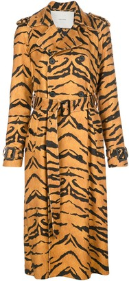 ADAM by Adam Lippes tiger-print trench coat