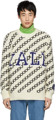 Calvin Klein Off-White and Black Yale Crewneck Sweater