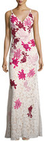 Jovani Sleeveless Embroidered Floral Lace Slip Gown, White/Multicolor
