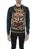 Dolce & Gabbana Green Lion King Embroidery Crewneck