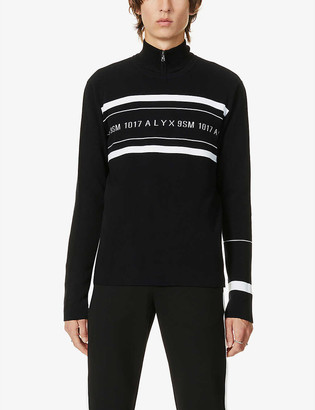 Alyx Logo-pattern striped-trim stretch-jersey jumper