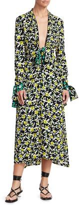Proenza Schouler Printed Deep-V Midi Dress