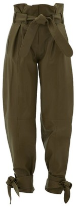 ATTICO The Belted Wide-leg Leather Trousers - Womens - Green