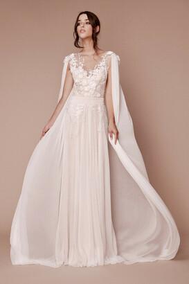 Tadashi Shoji Countess Floral Applique Gown