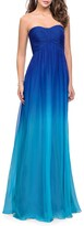 Thumbnail for your product : La Femme Ombre Strapless Chiffon Gown with Ruched Bodice & Open-Back
