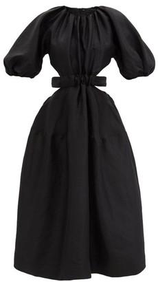 Aje Mimosa Cutout-waist Linen-blend Poplin Midi Dress - Black