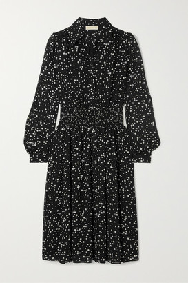MICHAEL Michael Kors Shirred Polka-dot Georgette Dress - Black