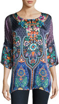 Johnny Was Malakye Dolman-Sleeve Floral-Print Top, Blue, Plus Size