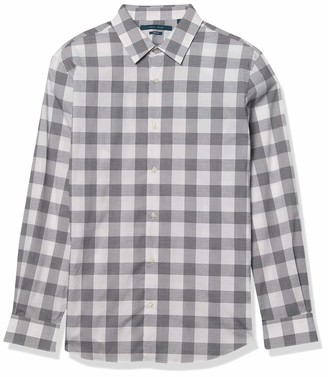 Perry Ellis Men's Large Buffalo Plaid Long Sleeve Button-Down Stretch Shirt with Collar Stays