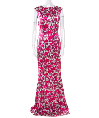 Mary Katrantzou Fuchsia Pink Bejeweled Feather Printed Silk Satin Evening Gown M
