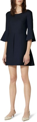 Valentino Trumpet Sleeve Virgin Wool & Silk Minidress