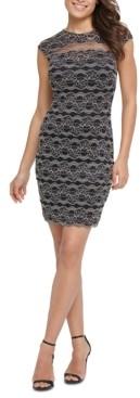 Kensie Floral Stripe Lace Dress