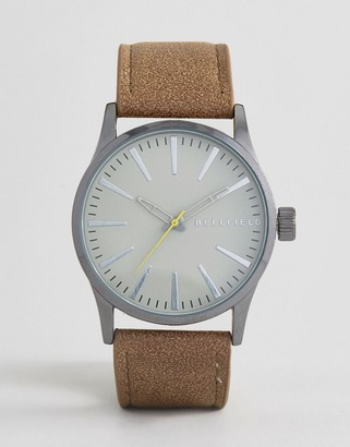 Bellfield Watch With Brown Strap And Grey Dial