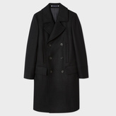 Paul Smith Men's Black Wool-Cashmere Double Breasted Overcoat
