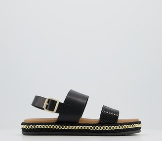 Office Sicily Two Part Sandals Black Leather With Chain Detail