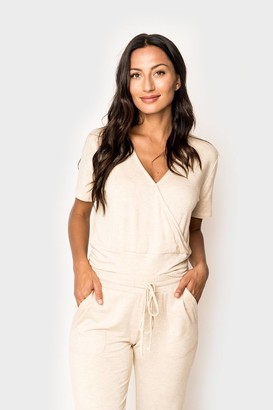 Gibson Short Sleeve Surplice Wrap Top