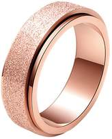 SINLEO Women's 6MM Fashion Stainless Steel Spinner Ring Sand Blast Finish Lucky Band Size 8