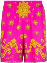 Versace Barocco Western print silk shorts