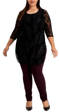 Alfani Plus Size Printed Burnout Tunic Top, Created for Macy's