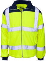 Forever Hi Viz Fleece Premium Safety Bomber Jacket Warm Mens Work Coat Workwear Lined