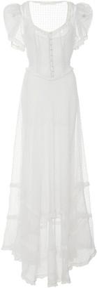 LoveShackFancy Odessa Eyelet Silk Maxi Dress