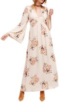 HaoDuoYi Womens Multicolor Chiffon Floral Print Plunge Neck Maxi Dresses(L,Multicoloured)