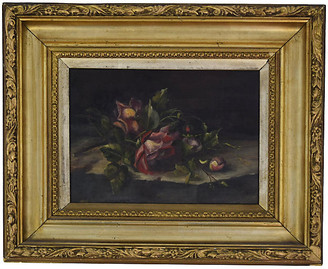 One Kings Lane Vintage Roses Painting - Countryside Antiques - green/multi; frame, gold