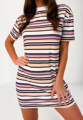 Missguided Lilac Stripe Oversized T Shirt Dress