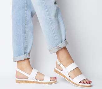 Office Sense Cork Sole Sandals White Leather