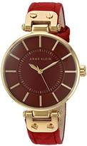 Anne Klein Women's AK/2218GPBY Gold-Tone and Burgundy Suede Leather Strap Watch