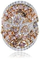 18K White & Rose Gold Multi Colored Diamond Ring Size 6.75